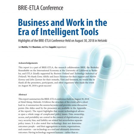 BRIE-ETLA Conference Notes – Business and Work in the Era of Intelligent Tools