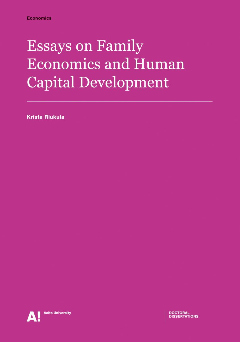 Essays on Family Economics and Human Capital Development
