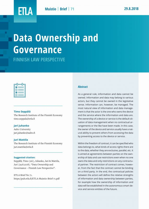 Data Ownership and Governance – Finnish Law Perspective - ETLA-Muistio-Brief-71