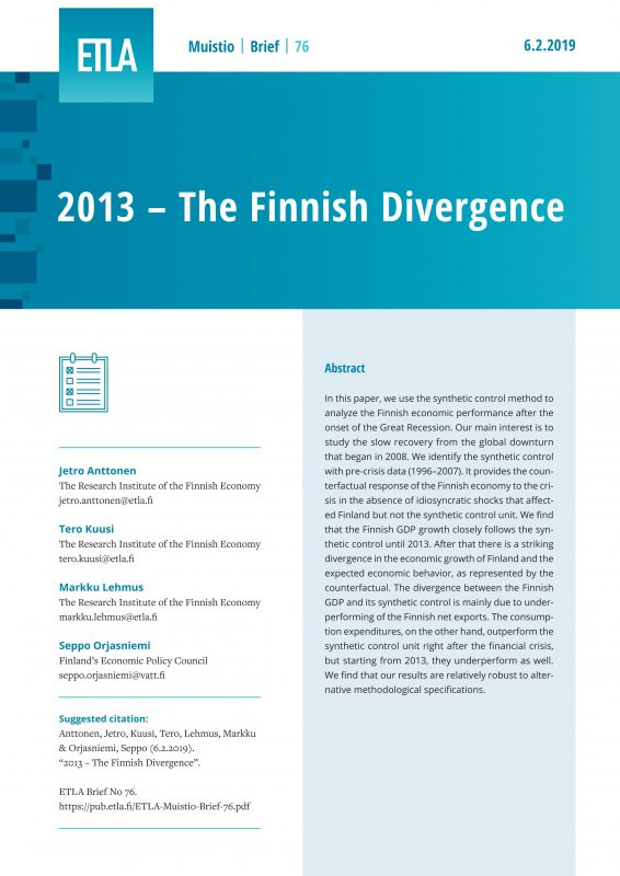 2013 – The Finnish Divergence - ETLA-Muistio-Brief-76