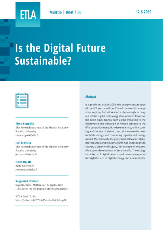 Is the Digital Future Sustainable? - ETLA-Muistio-Brief-80