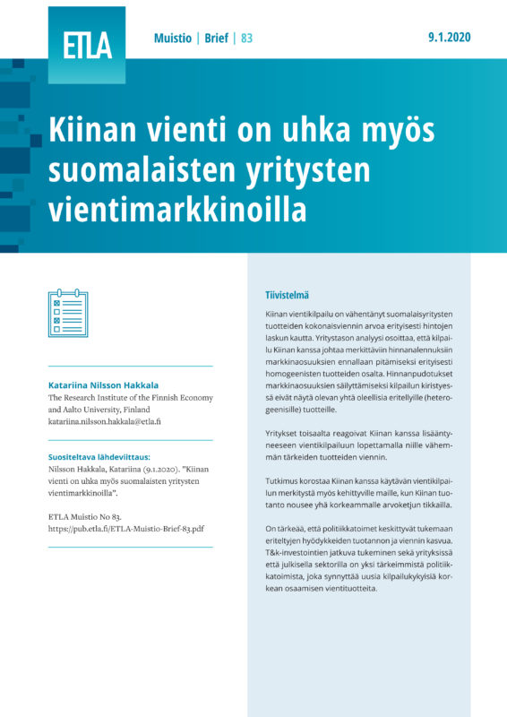 Chinese Export Competition Affects the Exports of Firms from Finland - ETLA-Muistio-Brief-83