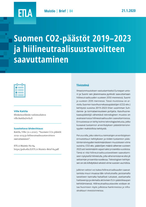CO2 Emissions in Finland 2019–2023 and the Carbon Neutrality Objective - ETLA-Muistio-Brief-84