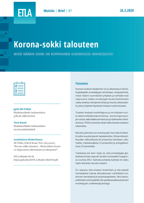 Corona-shock Hits the Economy – To What Extent Finland Is Dependent on Global Value Chains? - ETLA-Muistio-Brief-87