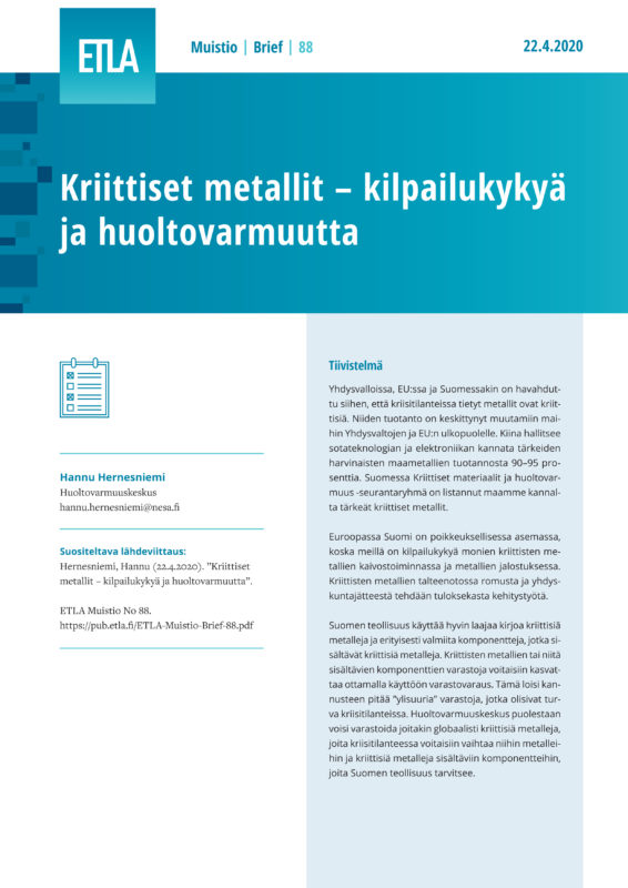 Critical Metals – Competitiveness and Security of Supply - ETLA-Muistio-Brief-88