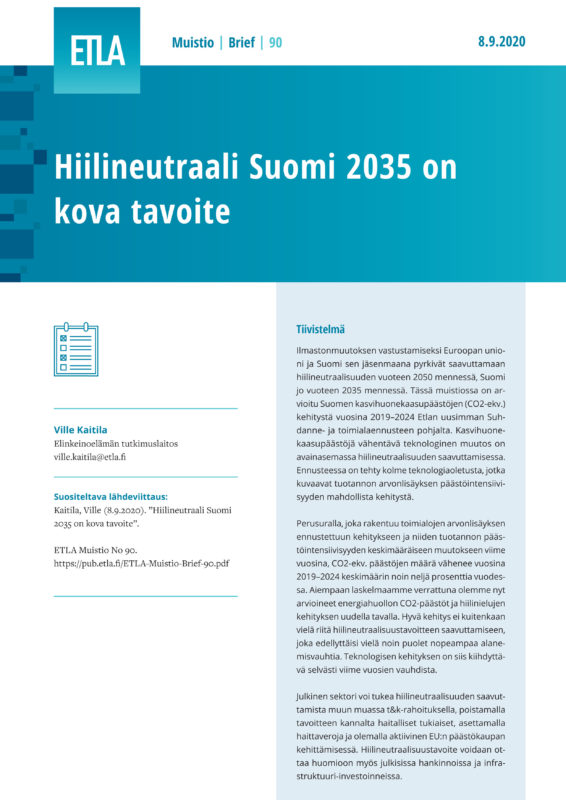 Carbon-Neutral Finland 2035 Is a Tough Objective - ETLA-Muistio-Brief-90