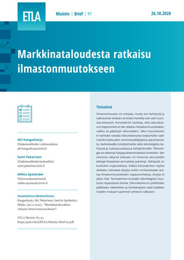 Let Markets Solve the Climate Crisis - ETLA-Muistio-Brief-91