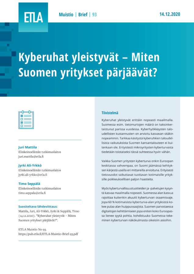 The New Cybersecurity Landscape  – How Are Finnish Companies Faring? - ETLA-Muistio-Brief-93