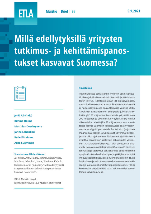 The Prerequisites for Increasing the R&D Activity of Companies in Finland - ETLA-Muistio-Brief-98