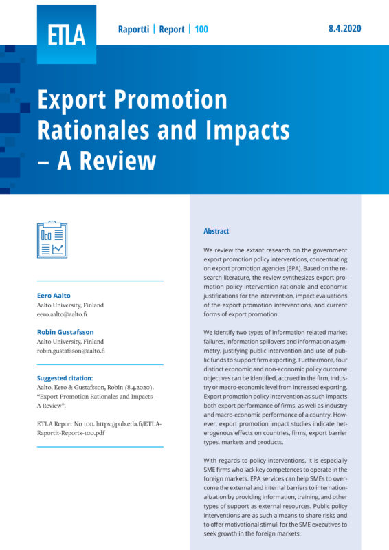 Export Promotion Rationales and Impacts – A Review - ETLA-Raportit-Reports-100