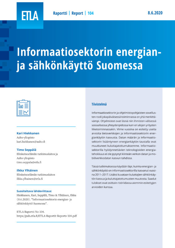 Energy and Electricity Consumption of the ICT-sector in Finland - ETLA-Raportit-Reports-104