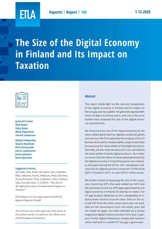 The Size of the Digital Economy in Finland and Its Impact on Taxation - ETLA-Raportit-Reports-106