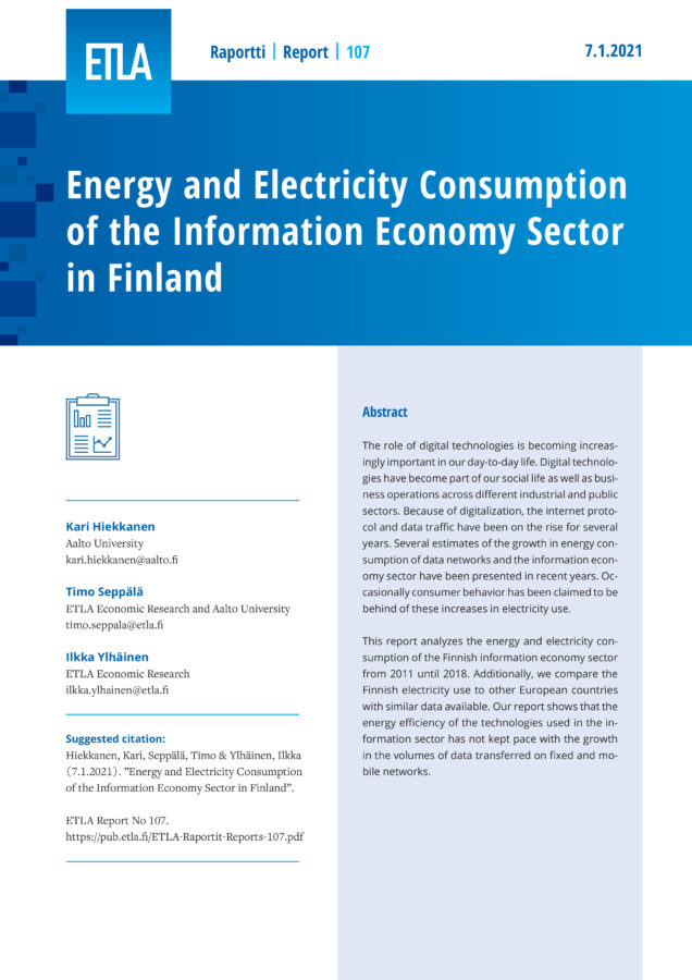 Energy and Electricity Consumption of the Information Economy Sector in Finland - ETLA-Raportit-Reports-107