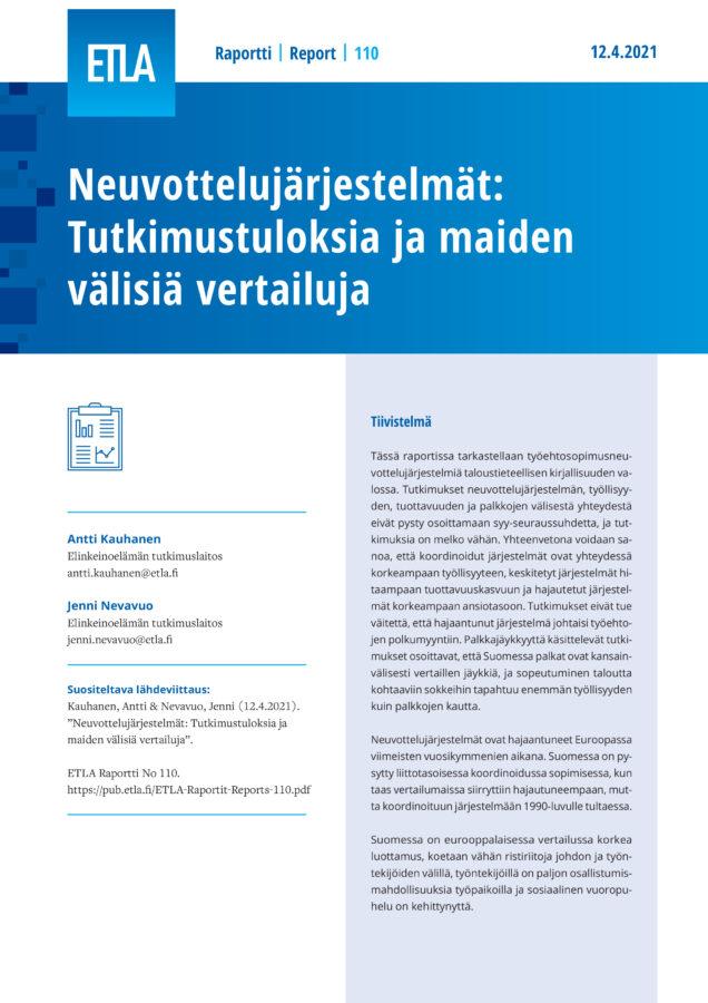 Neuvottelujärjestelmät: Tutkimustuloksia ja maiden välisiä vertailuja - ETLA-Raportit-Reports-110