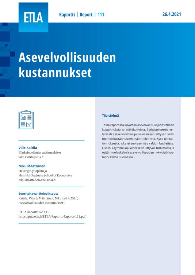 Asevelvollisuuden kustannukset - ETLA-Raportit-Reports-111