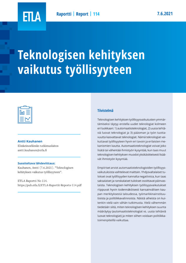 Technological Change and Employment - ETLA-Raportit-Reports-114
