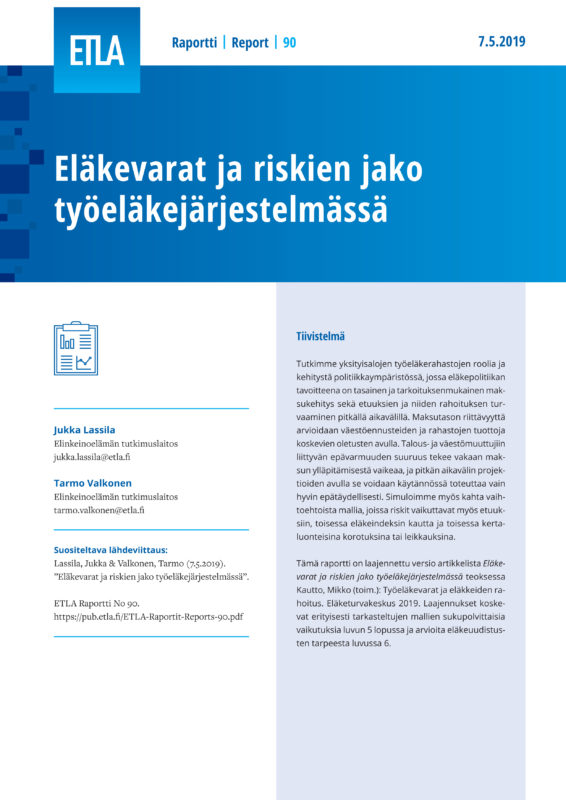 Pension Funds and Risk-sharing in the Finnish Earnings-related Pension System - ETLA-Raportit-Reports-90
