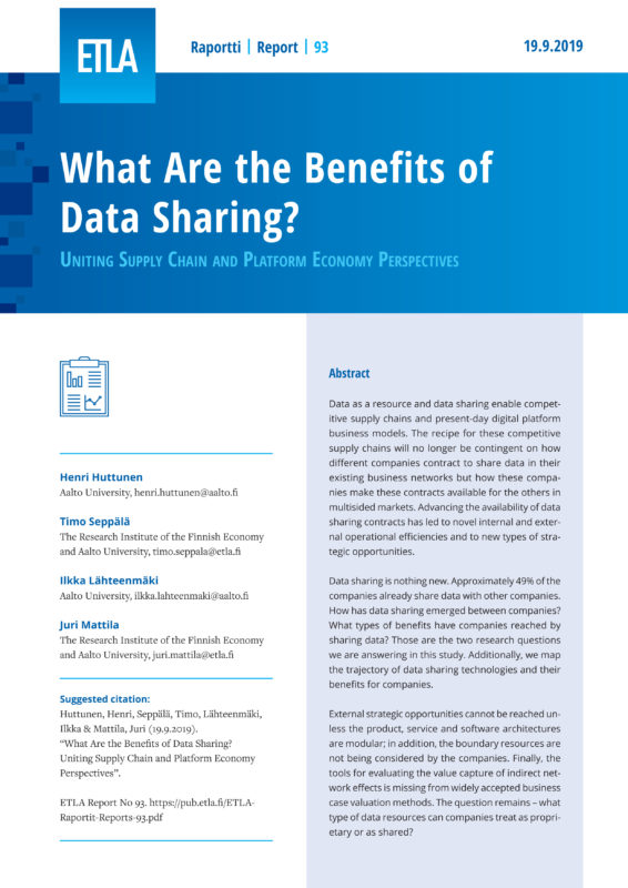 What Are the Benefits of Data Sharing? Uniting Supply Chain and Platform Economy Perspectives - ETLA-Raportit-Reports-93