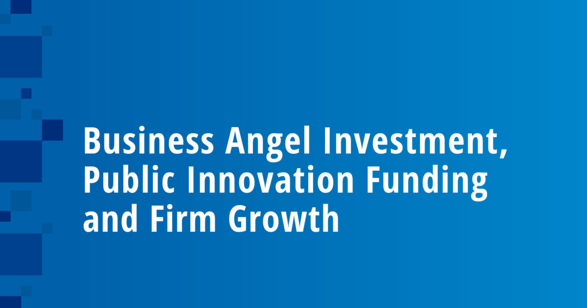 Business Angel Investment, Public Innovation Funding and Firm Growth