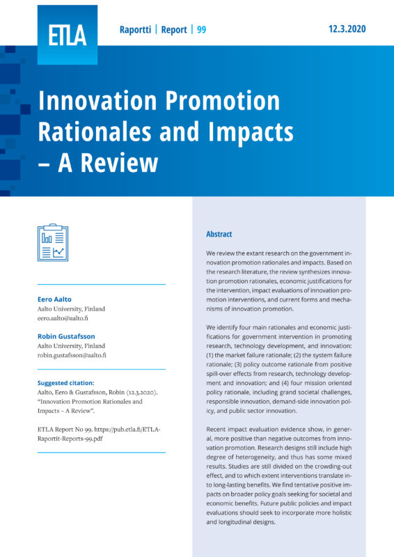 Innovation Promotion Rationales and Impacts – A Review - ETLA-Raportit-Reports-99