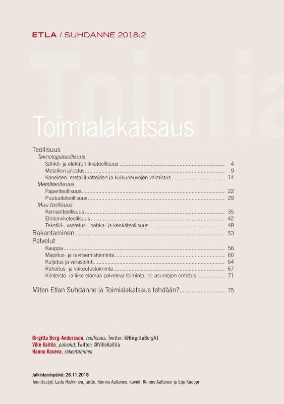 Toimialakatsaus 2018:2 - ETLA-Toimialakatsaus-2018-2