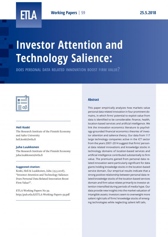 Investor Attention and Technology Salience: Does Personal Data Related Innovation Boost Firm Value? - ETLA-Working-Papers-59