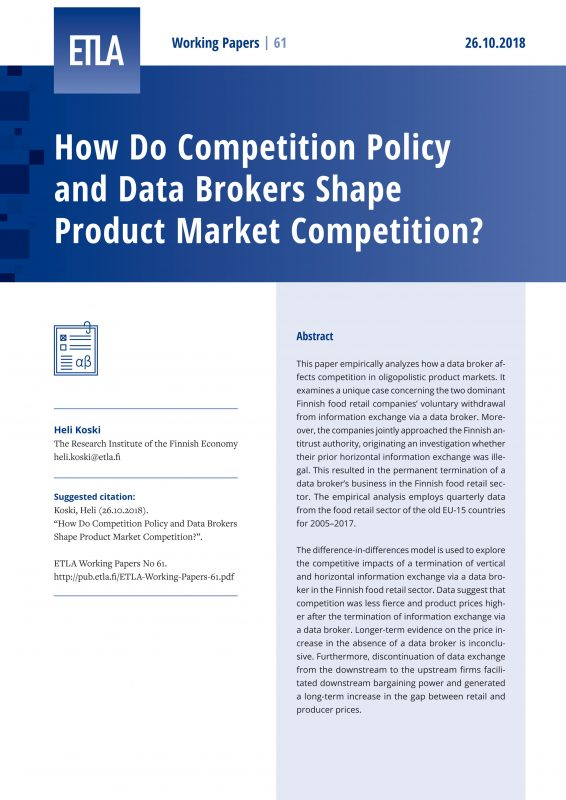 How Do Competition Policy and Data Brokers Shape Product Market Competition? - ETLA-Working-Papers-61