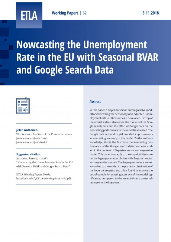 Nowcasting the Unemployment Rate in the EU with Seasonal BVAR and Google Search Data - ETLA-Working-Papers-62