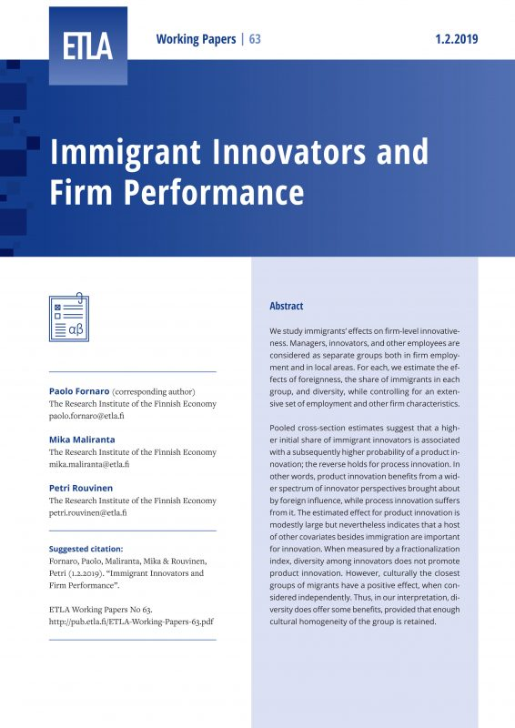Immigrant Innovators and Firm Performance - ETLA-Working-Papers-63