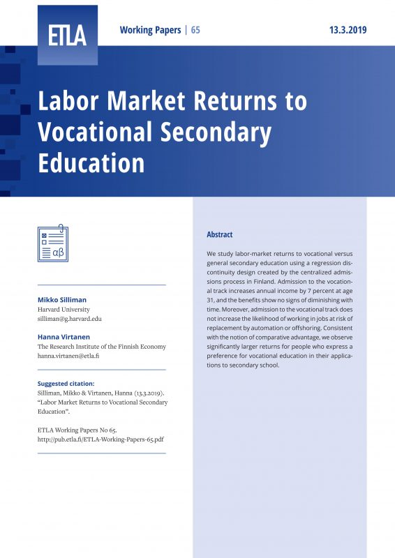 Labor Market Returns to Vocational Secondary Education - ETLA-Working-Papers-65