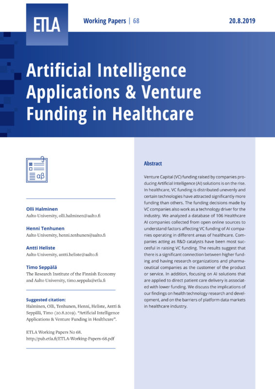 Artificial Intelligence Applications & Venture Funding in Healthcare - ETLA-Working-Papers-68