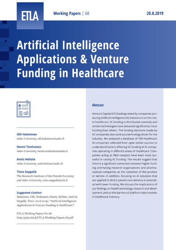Artificial Intelligence Applications & Venture Funding in Healthcare - ETLA-Working-Papers-68