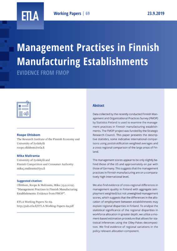 Management Practises in Finnish Manufacturing Establishments: Evidence from FMOP - ETLA-Working-Papers-69