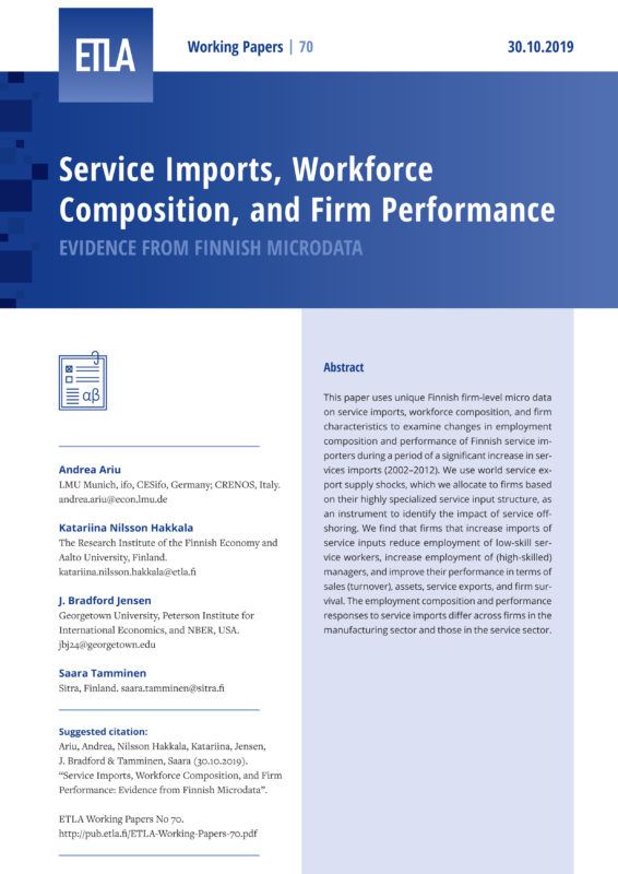 Service Imports, Workforce Composition, and Firm Performance: Evidence from Finnish Microdata - ETLA-Working-Papers-70