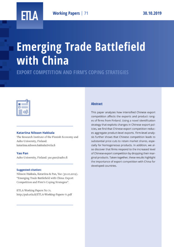 Emerging Trade Battlefield with China: Export Competition and Firm's Coping Strategies - ETLA-Working-Papers-71