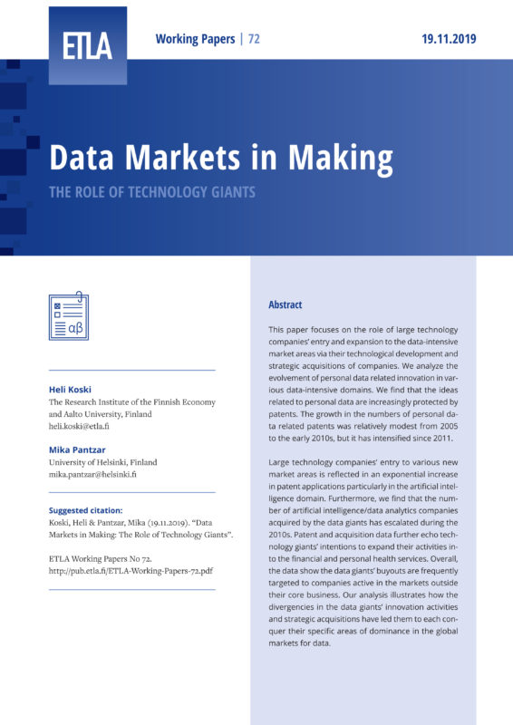 Data Markets in Making: The Role of Technology Giants - ETLA-Working-Papers-72