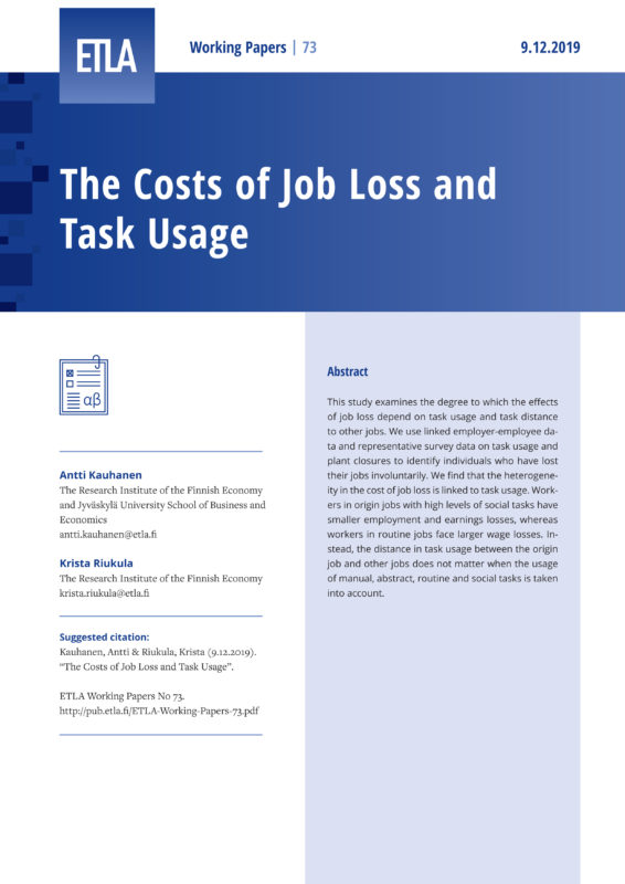 The Costs of Job Loss and Task Usage - ETLA-Working-Papers-73