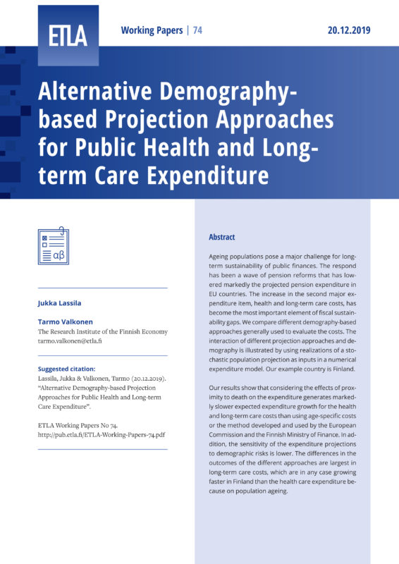 Alternative Demography-based Projection Approaches for Public Health and Long-term Care Expenditure - ETLA-Working-Papers-74