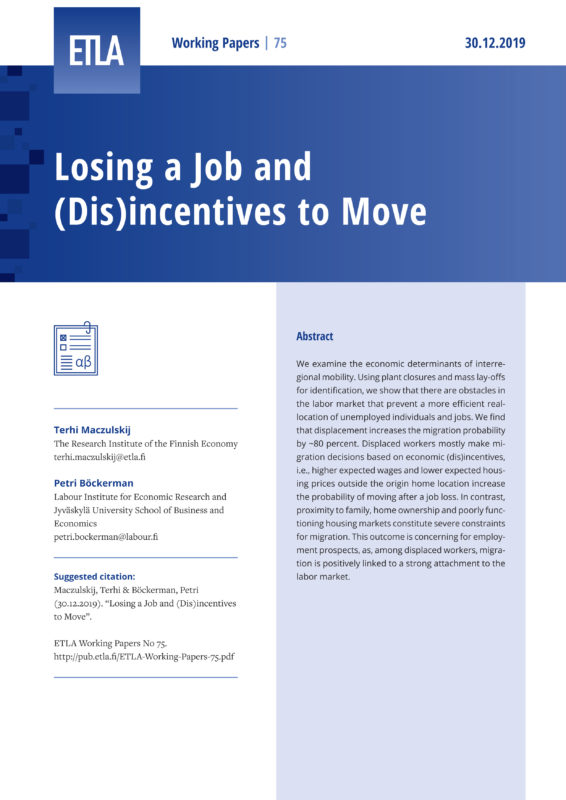 Losing a Job and (Dis)incentives to Move - ETLA-Working-Papers-75