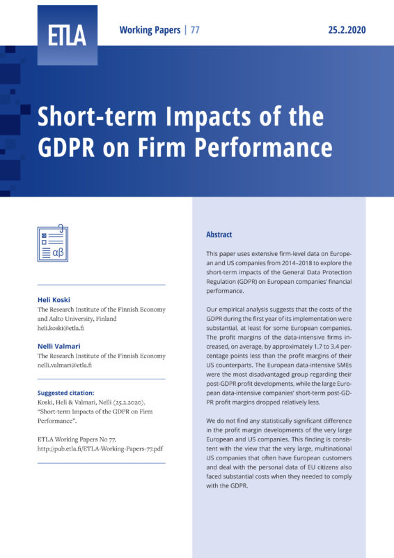 Short-term Impacts of the GDPR on Firm Performance - ETLA-Working-Papers-77