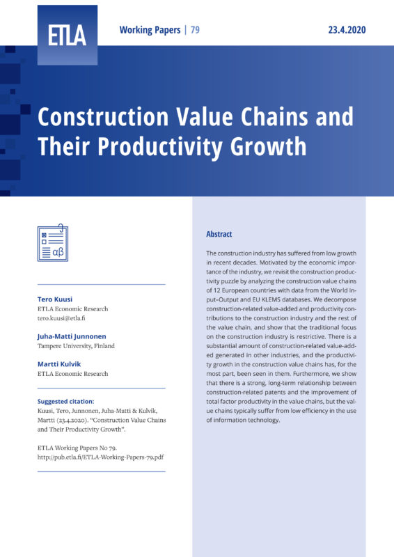 Construction Value Chains and Their Productivity Growth - ETLA-Working-Papers-79