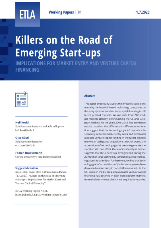 Killers on the Road of Emerging Start-ups – Implications for Market Entry and Venture Capital Financing - ETLA-Working-Papers-81