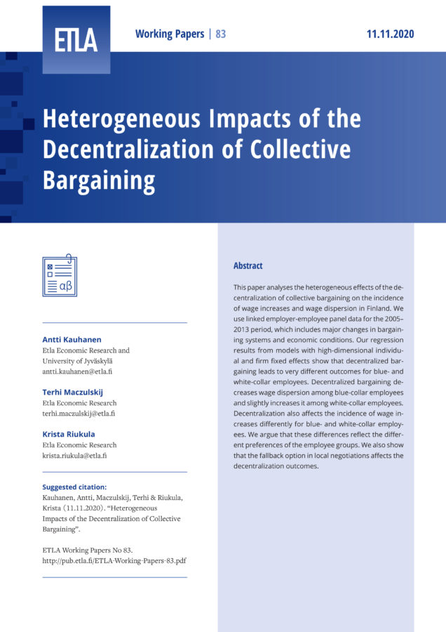 Heterogeneous Impacts of the Decentralization of Collective Bargaining - ETLA-Working-Papers-83