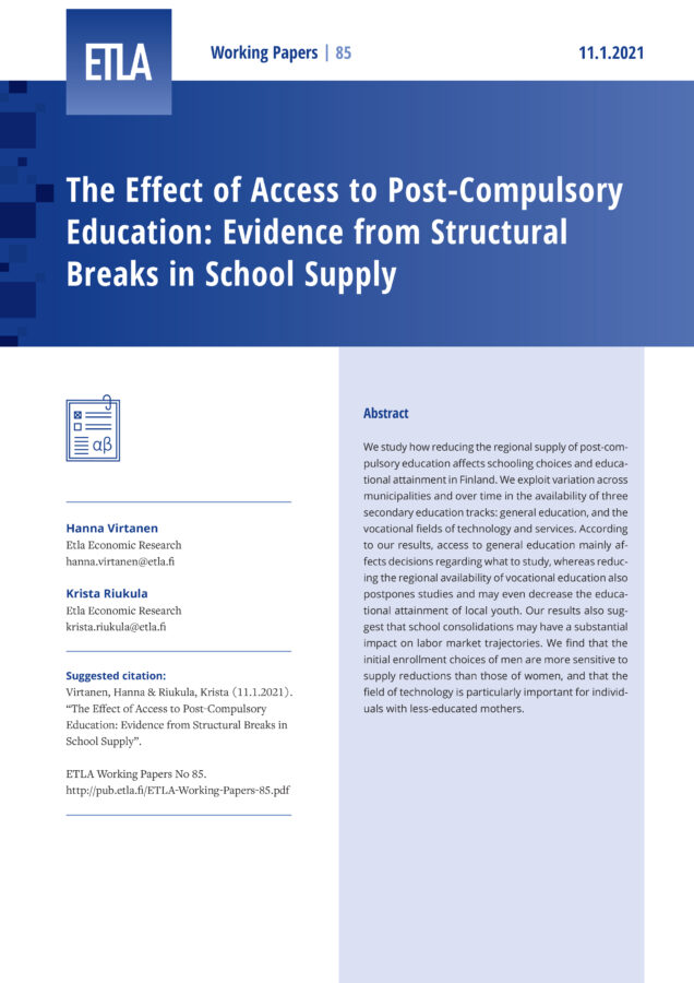 The Effect of Access to Post-Compulsory Education: Evidence from Structural Breaks in School Supply - ETLA-Working-Papers-85