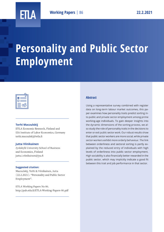Personality and Public Sector Employment - ETLA-Working-Papers-86