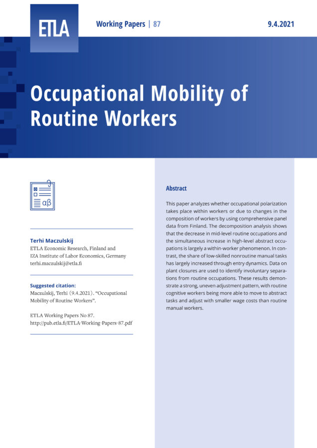 Occupational Mobility of Routine Workers - ETLA-Working-Papers-87