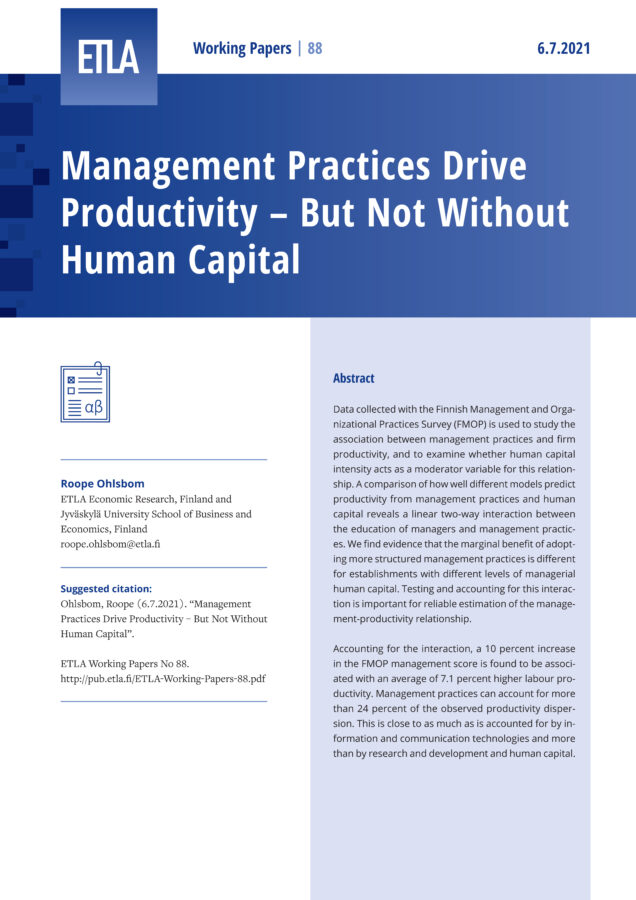Management Practices Drive Productivity – But Not Without Human Capital - ETLA-Working-Papers-88