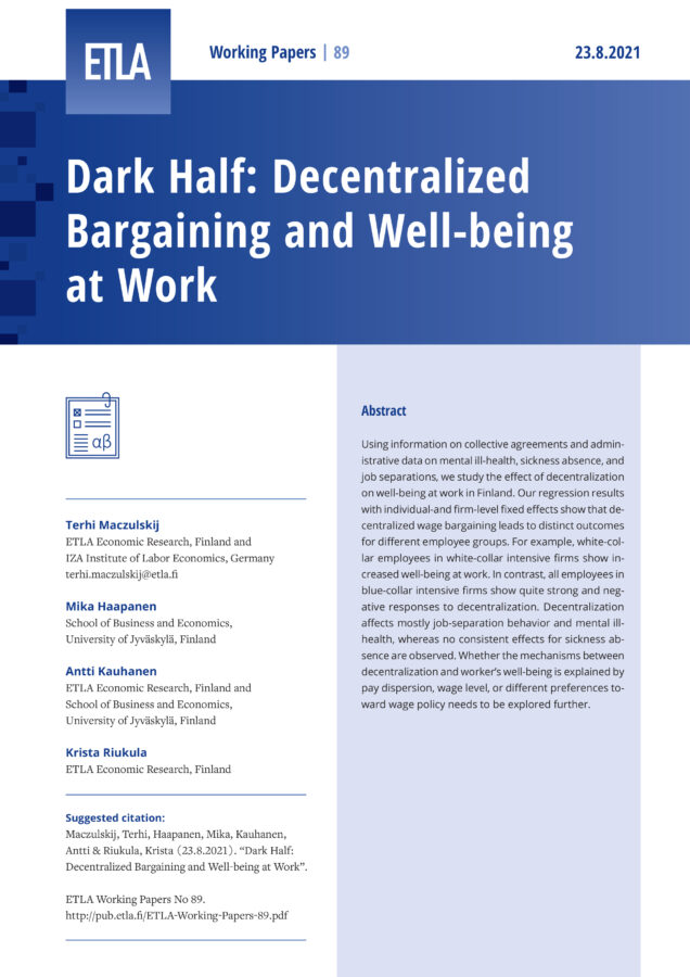 Dark Half: Decentralized Bargaining and Well-being at Work - ETLA-Working-Papers-89