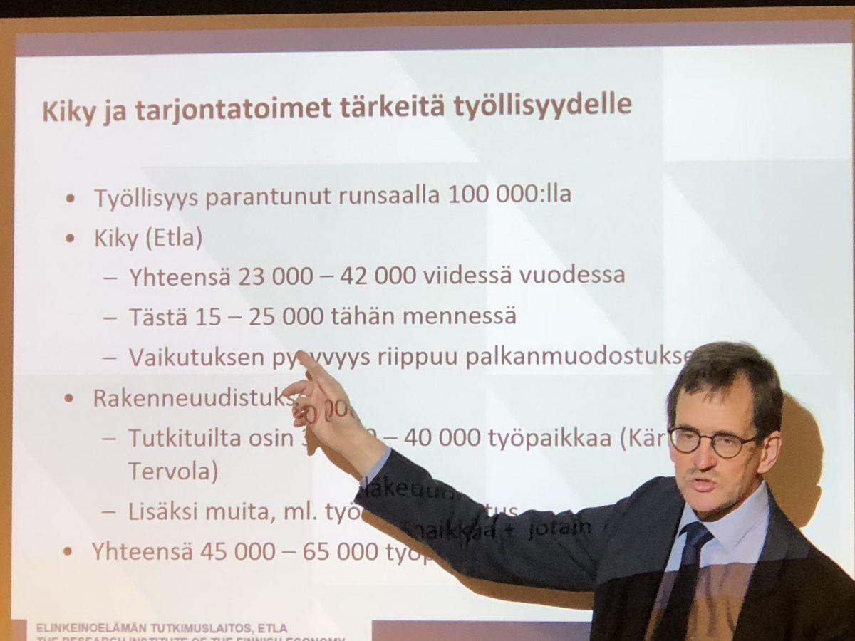 Etla: Puolet työpaikkojen lisäyksestä politiikan ansiota