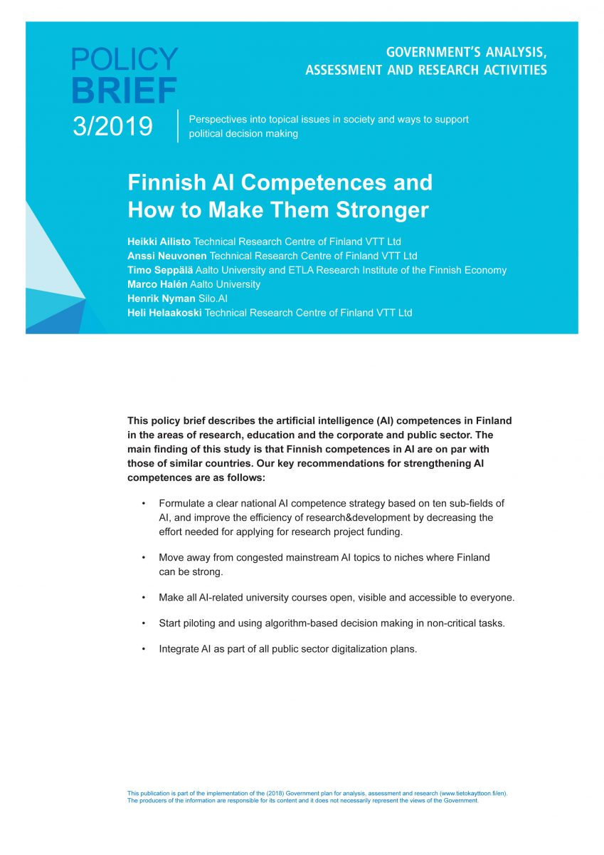 Finnish AI Competences and How to Make Them Stronger